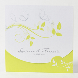Faire-Part Mariage Traditionnel - Fleurs blanche et anis - 0