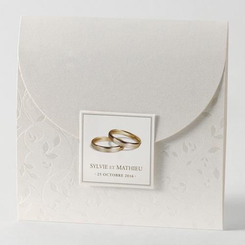 Faire-Part Mariage Traditionnel - Alliance sur lit de feuillage 45709