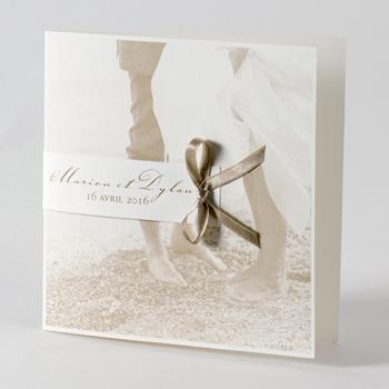 Faire-Part Mariage Traditionnel - Ensemble sur la plage - 0