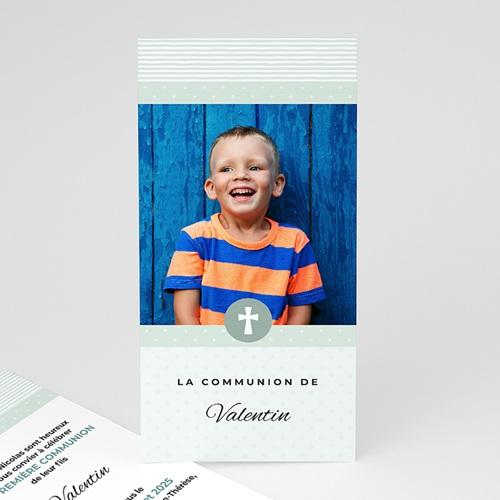 Faire-part Communion Garçon - Motifs bleus étoiles 45862