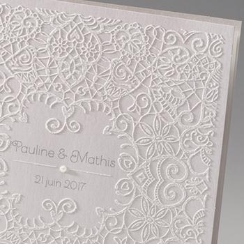Faire-Part Mariage Traditionnel - Dentelle et Romantisme - 0