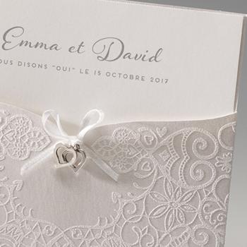 Faire-Part Mariage Traditionnel - Bijoux coeurs Pochette - 0