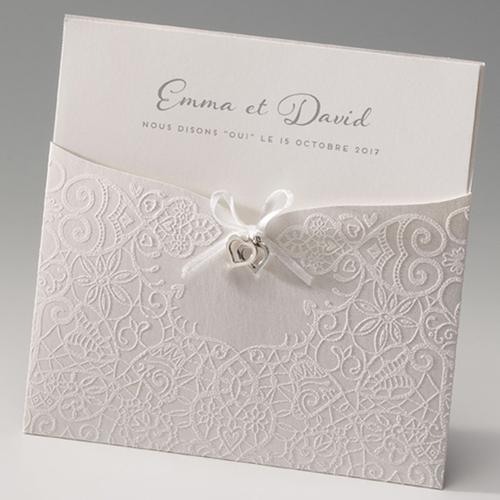 Faire-Part Mariage Traditionnel - Bijoux coeurs Pochette 45991