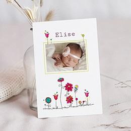 Faire-Part Naissance Fille UNICEF - Fleurs de Bonheur - 0