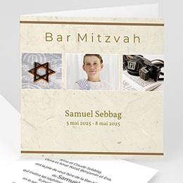 Faire-part Bar-Mitzvah - Menorah argentée - Carte d'Invitation - 3
