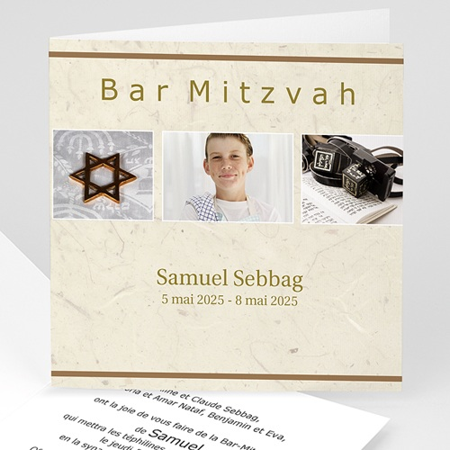 Faire-part Bar-Mitzvah - Menorah argentée  4612
