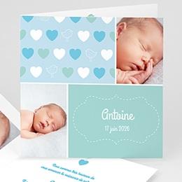 Faire-Part Naissance Garçon UNICEF - Coeur Bleu - 0