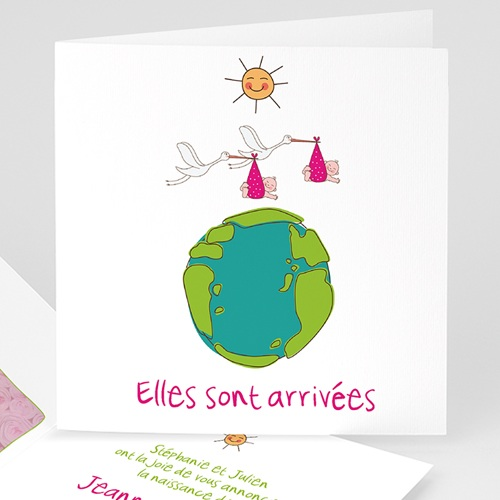 Faire-Part Naissance Jumeaux UNICEF - Cigognes, livraison de jumelles 46315