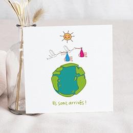 Faire-Part Naissance Jumeaux UNICEF - Cigognes, livraison groupée - 0