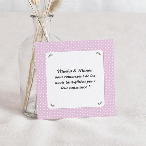 Remerciement Naissance UNICEF - Médaillon Jumeaux Roses 46381