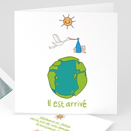 Faire-Part Naissance Garçon UNICEF - Cigogne Express - 0