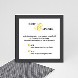Carte Invitation Mariage - Mariage Estival - gris et jaune - 0
