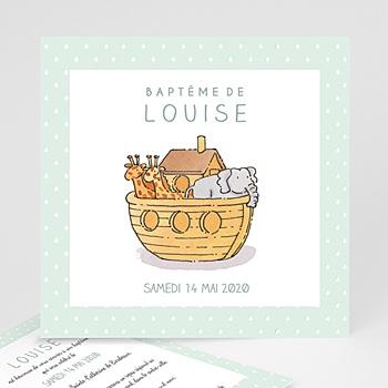 Faire-part Baptême Fille - Arche de Noé - 0