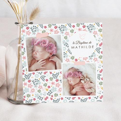 Faire-part Baptême Fille - Liberty Rose 46979