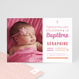 Faire-part Baptême Fille - Camaieu de roses - 0