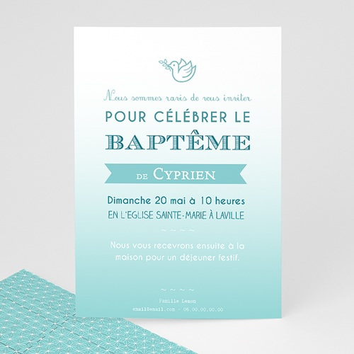 Faire-part Baptême Garçon - Effet Dégradé Bleu 47045