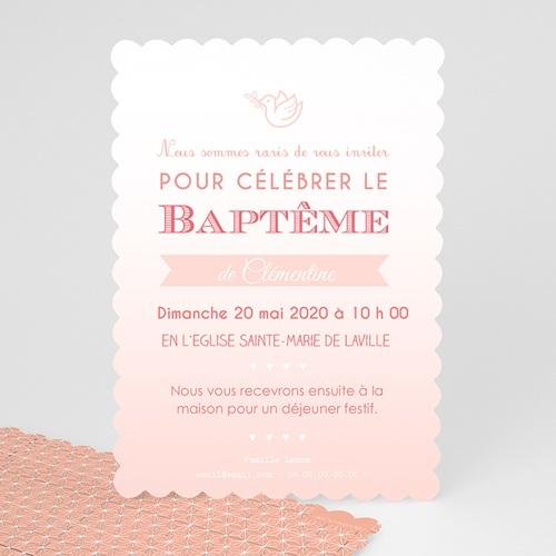 Faire-part Baptême Fille - Colombe Rose 48024