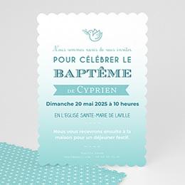 Faire-part Baptême Garçon - Effet Dégradé de bleus - 0