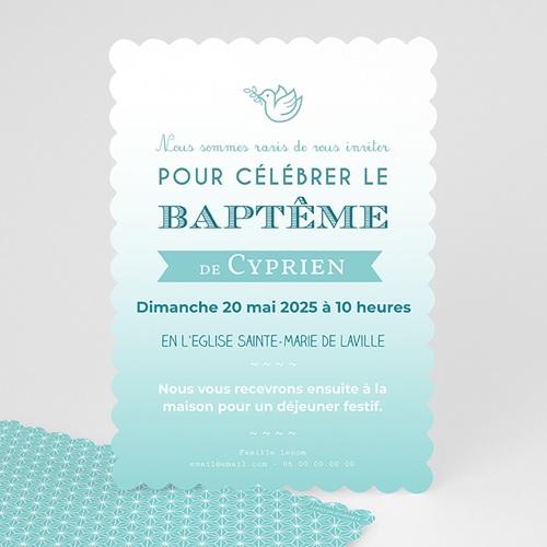 Faire-part Baptême Garçon - Colombe Bleue 48033