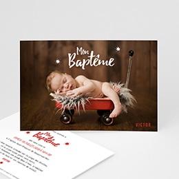 Faire-part Baptême Garçon - Etoile rouge - 0