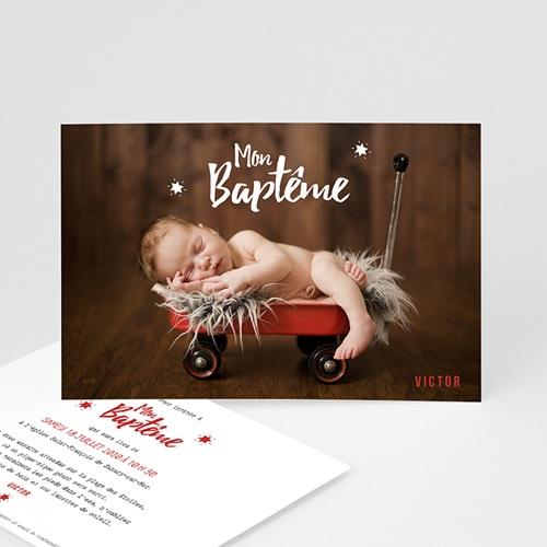Faire-part Baptême Garçon - Etoile rouge 48281