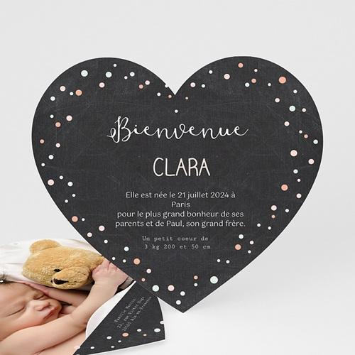 Faire-Part Naissance Garçon - Coeur d'amour 48334