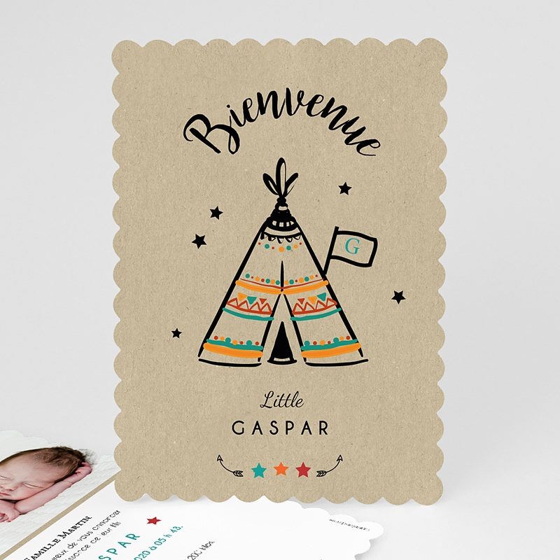 faire part naissance tipi indien pour gar on. Black Bedroom Furniture Sets. Home Design Ideas