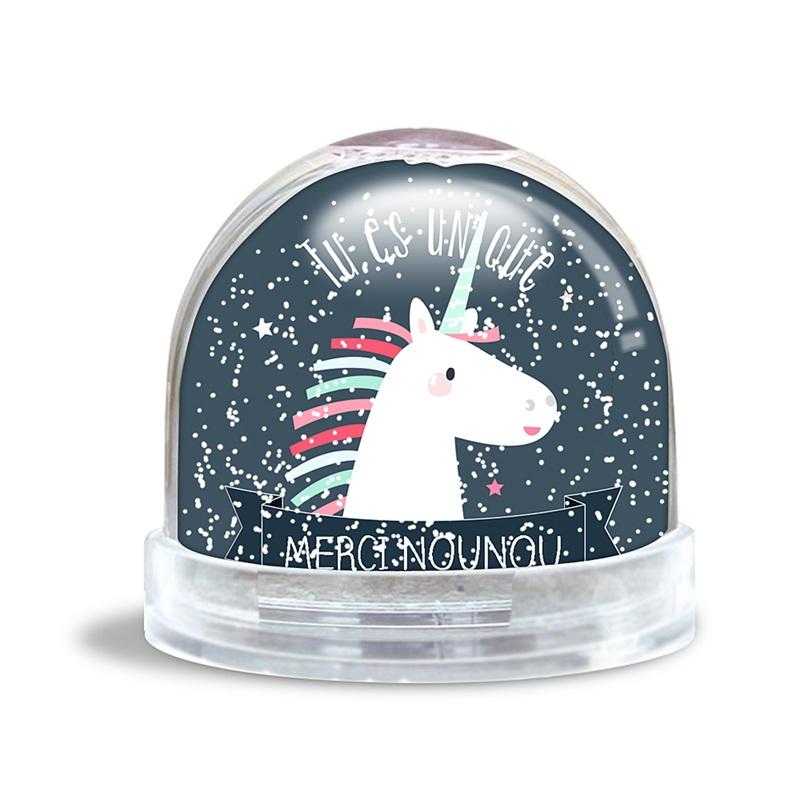 boule neige avec photo licorne magique