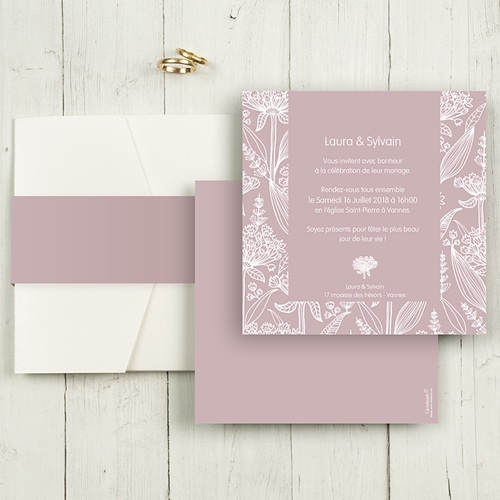 Faire-Part Mariage Pochette carré - Douceur romantique 48669