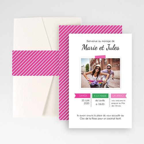 Faire Part Mariage Pochette rectangulaire -  Pop rose et vert 48709