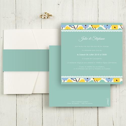 Faire-Part Mariage Pochette carré - Jolies Fleurs 48717