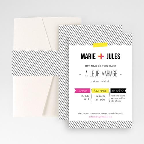 Faire Part Mariage Pochette rectangulaire - Fluo 48725
