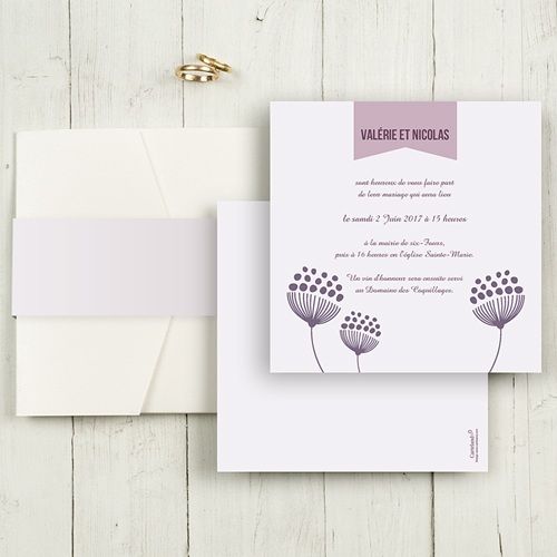 Faire-Part Mariage Pochette carré - Violettes 48749