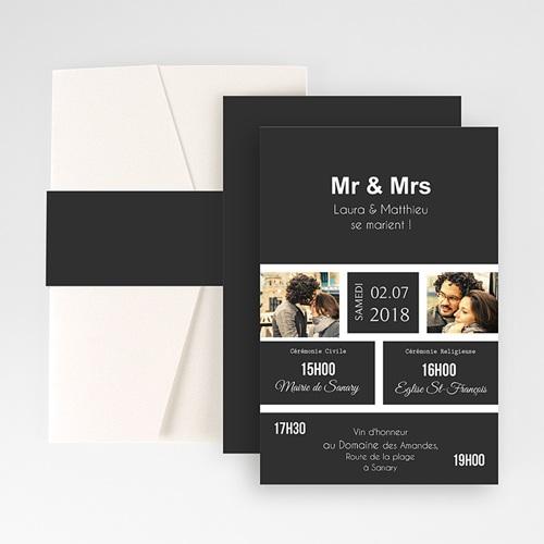 Faire Part Mariage Pochette rectangulaire - Mr & Mrs 48786