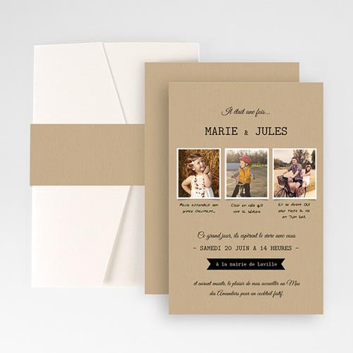 Faire Part Mariage Pochette rectangulaire - Notre histoire 48830