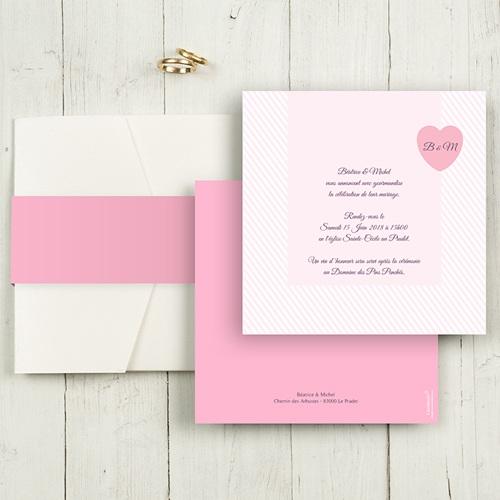 Faire-Part Mariage Pochette carré - Rose bonbon 48878