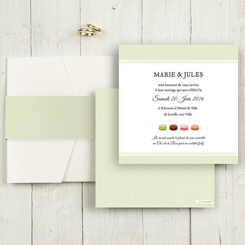 Faire-Part Mariage Pochette carré - Amour de macaron 48914