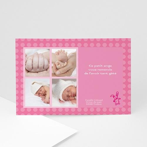 Remerciements Naissance Fille - Petit lapin rose 4892
