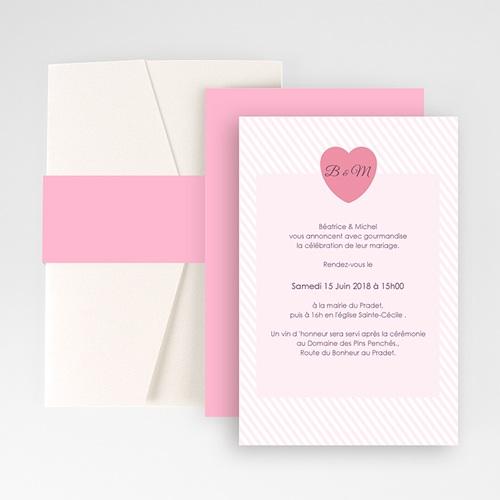 Faire Part Mariage Pochette rectangulaire - Rose bonbon 48922