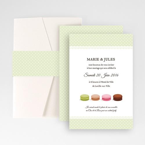 Faire Part Mariage Pochette rectangulaire - Amour de macaron 48940