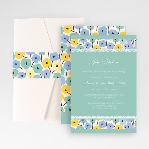 Faire Part Mariage Pochette rectangulaire - Jolies Fleurs 48984