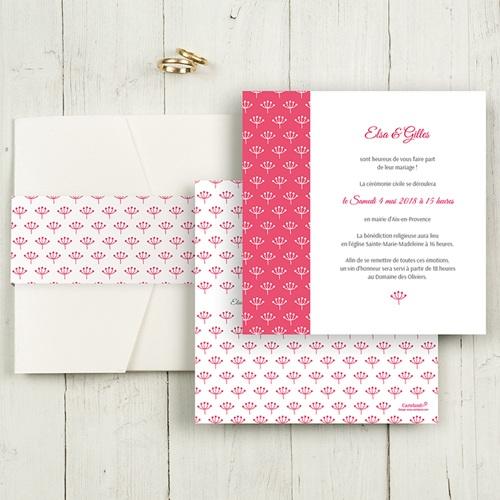 Faire-Part Mariage Pochette carré - Fleurs framboise 48996