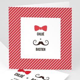 Faire-Part Mariage Personnalisés - Noeud et moustache - 0