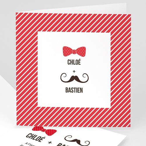 Faire-Part Mariage Personnalisés - Noeud et moustache 49094