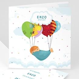 Faire-Part Naissance Garçon - Ballons Colorés - 0