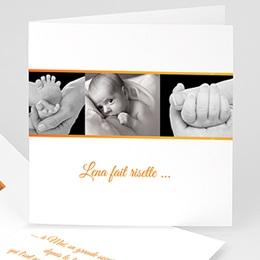 Faire-Part Naissance Fille - Ma photo carte orange 4962