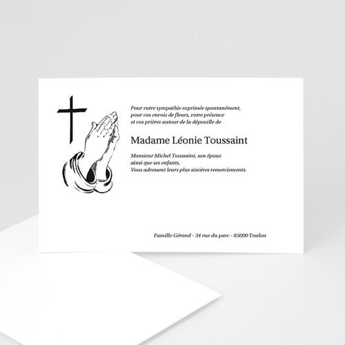 Remerciements Décès Chrétien - Mains en prière  5014