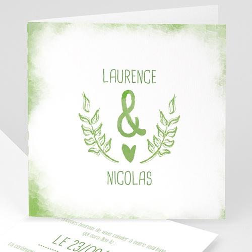 Faire-Part Mariage Personnalisés - Vert & Blanc 50208