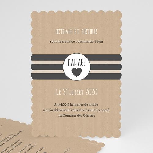 Faire-Part Mariage Personnalisés - Kraft et bords dentelés 50519
