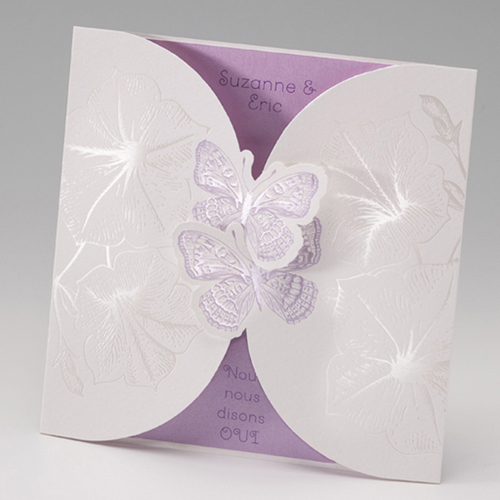 Faire-Part Mariage Traditionnel - Duo de papillons 50662